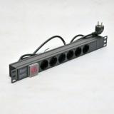 Блок на 6 роз. нем. станд., 16А, с выключателем., шнур 1.8м, 3x1.5мм2, черный, 1U