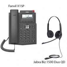 Fanvil X1SP + Jabra BIZ1500 Duo QD, комплект: sip телефон + гарнитура + кабель адаптер GN1200 CC