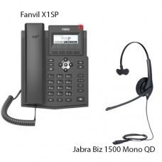 Fanvil X1SP + Jabra Biz1500 Mono QD, комплект: sip телефон + гарнитура + кабель адаптер GN1200 CC