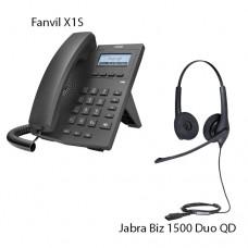 Fanvil X1S + Jabra Biz1500 Duo QD, комплект: sip телефон + гарнитура + кабель адаптер GN1200 CC
