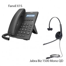 Fanvil X1S + Jabra Biz1500 Mono QD, комплект: sip телефон + гарнитура + кабель адаптер GN1200 CC