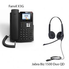 Fanvil X3G + Jabra BIZ1500 Duo QD, комплект: sip телефон + гарнитура + кабель адаптер GN1200 CC