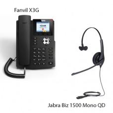 Fanvil X3G + Jabra Biz1500 Mono QD, комплект: sip телефон + гарнітура + кабель адаптер GN1200 CC