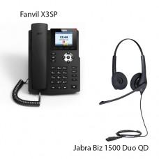Fanvil X3SP(V2) + Jabra BIZ1500 Duo QD, комплект: sip телефон + гарнитура + кабель адаптер GN1200 CC