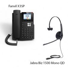 Fanvil X3SP(V2) + Jabra Biz1500 Mono QD, комплект: sip телефон + гарнитура + кабель адаптер GN1200 CC