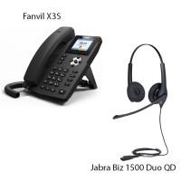 Fanvil X3S, + Jabra BIZ1500 Duo QD, комплект: sip телефон + гарнітура + кабель адаптер GN1200 CC