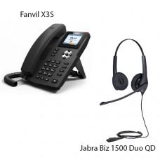 Fanvil X3S, + Jabra BIZ1500 Duo QD, комплект: sip телефон + гарнитура + кабель адаптер GN1200 CC