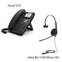 Fanvil X3S, + Jabra Biz1500 Mono QD, комплект: sip телефон + гарнітура + кабель адаптер GN1200 CC