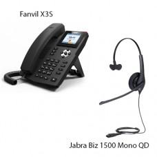 Fanvil X3S, + Jabra Biz1500 Mono QD, комплект: sip телефон + гарнитура + кабель адаптер GN1200 CC