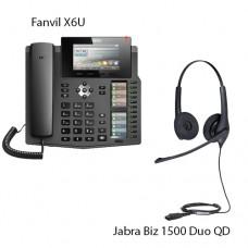 Fanvil X6U + Jabra BIZ1500 Duo QD, комплект: sip телефон + гарнітура + кабель адаптер GN1200 CC