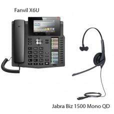 Fanvil X6U + Jabra Biz1500 Mono QD, комплект: sip телефон + гарнітура + кабель адаптер GN1200 CC
