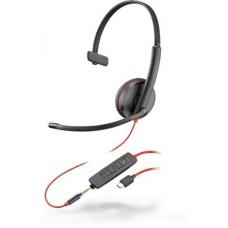 Plantronics BlackWire C3215-C (209750-101) - дротова гарнітура (jack 3.5/USB-C)