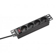 """Блок розеток 10"""", 4 розетки, алюминиевый корпус, 220В, с выключателем и кабелем, Hypernet"""