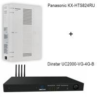 Panasonic KX-HTS824RU - Dinstar UC2000-VE-4G-B, ip атс + VoIP GSM шлюз