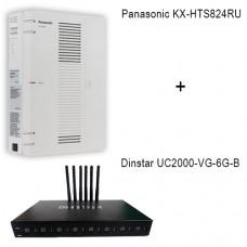 Panasonic KX-HTS824RU - Dinstar UC2000-VE-6G-B, ip атс + VoIP GSM шлюз