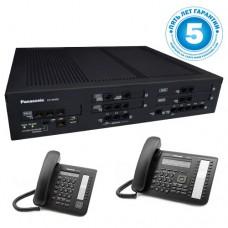 Panasonic KX-NS500UC, IP-АТС – конфигурация: 6 внешних аналоговых + 4 внешних sip, 32 внутренних, 2 системных телефона