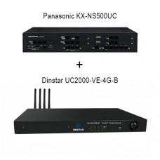 Panasonic KX-NS500UC - Dinstar UC2000-VE-4G-B, ip атс + VoIP GSM шлюз
