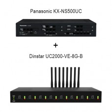 Panasonic KX-NS500UC - Dinstar UC2000-VE-8G-B, ip атс + VoIP GSM шлюз