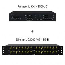 Panasonic KX-NS500UC - Dinstar UC2000-VF-16G-B, ip атс + VoIP GSM шлюз