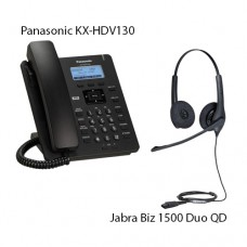 Panasonic KX-HDV130RUB Black + Jabra Biz1500 Duo QD, комплект: sip телефон + гарнитура + кабель адаптер GN1200 CC