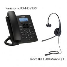 Panasonic KX-HDV130RUB Black + Jabra Biz1500 Mono QD, комплект: sip телефон + гарнитура + кабель адаптер GN1200 CC