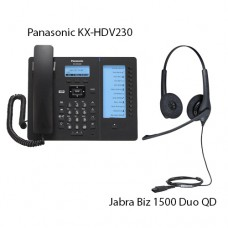 Panasonic KX-HDV230RUB Black + Jabra Biz1500 Duo QD, комплект: sip телефон + гарнитура + кабель адаптер GN1200 CC