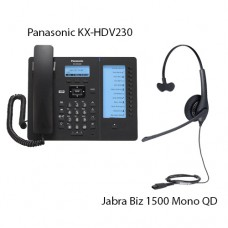 Panasonic KX-HDV230RUB Black + Jabra Biz1500 Mono QD, комплект: sip телефон + гарнитура + кабель адаптер GN1200 CC