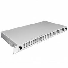 Патч-панель 48 портов 24 SCDuplex, пустая, кабельные вводы для 2xPG13.5 и 2xPG16, 1U, серая.