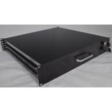 """Ящик выдвижной для документов 19"""" с замком, 2U 450 мм глубина, черный, серый"""