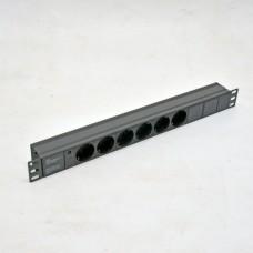 Блок на 6 роз. нем. станд., 10А, с индикатором., черный, 1U, без шнура, разъём С14