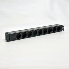 Блок  на 9 роз. нем. станд., 10А, с индикатором., черный, 1U, без шнура, разъём С14