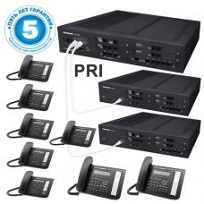 Panasonic KX-NS500UC, IP-АТС – конфигурация: 12 внешних городских линий, 80 внутренних, ISDN PRI – поток, 8 системных телефонов