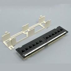 Патч-панель настенная 12xRJ-45 UTP, кат. 6, dual type, в пластиковом корпусе, черная, EPNew