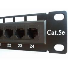 """Патч-панель 24 порта UTP DUAL кат 5Е, 1U 19"""", Hypernet"""