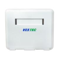 Розетка зовнішня для 2-х модулів KeyStone, без модулів, зі шторкою, біла, Vestec